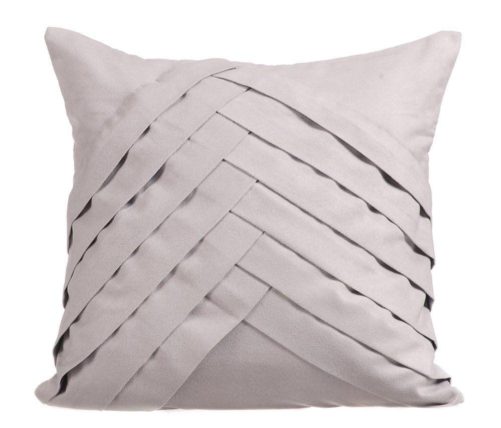 16 X16 Designer Light Gray Sofa Pillow Faux Suede Throw Pillow