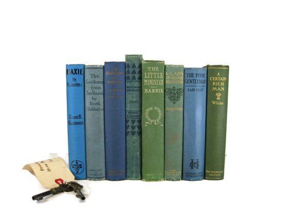 Blue Green Vintage & Antique Books ,  Blue Decorative Books , Wedding Prop , Photo Prop , Green Vintage Books , Old Books
