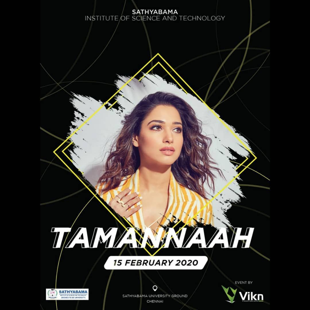 Tamannaah Bhatia On Instagram Happy To Be A Part Of The Cultural Fest Happening At Sathyabama University I M Looking Forward To Seeing All Of You On Februa