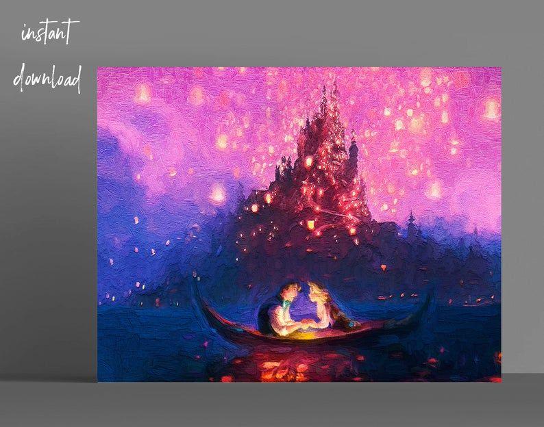 Rapunzel and Flynn in Boat Sky Lanterns Rapunzel Tangled ...