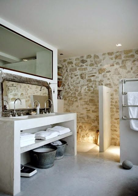 Banos De Obra Y Microcemento Rustic Bathrooms Rustic Bathroom