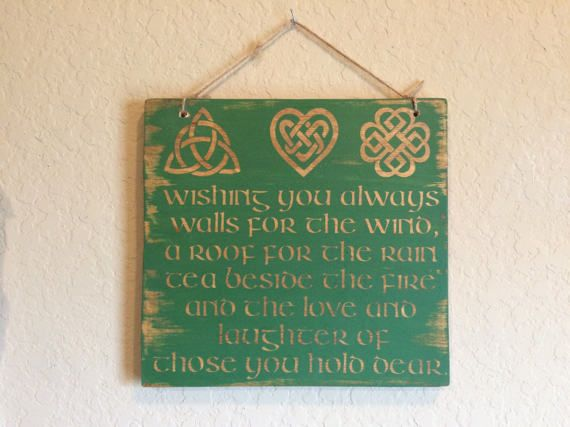 Wishing You Always Walls For The Wind Celtic Home Decor Sign Irish Blessing Celtic Blessing Scottish Wood Sign Outlander Sign