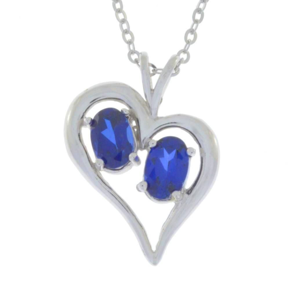 ct blue sapphire oval heart pendant sterling silver