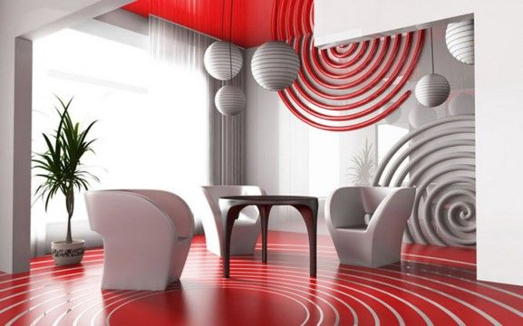 Elegant Décoration De Salon Rouge Et Blanc 2