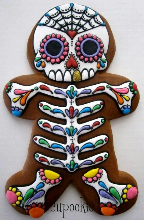 Sugar skull gingerbread man decorated iced cookie for Dia de los Muertos / Day of the Dead & Pin by Claire Kemp on Halloween | Pinterest | Sugar skulls ...
