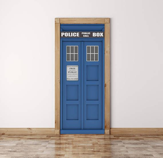 Dr Who Door Mural, Tardis Door Wrap, Peel and Stick, Door