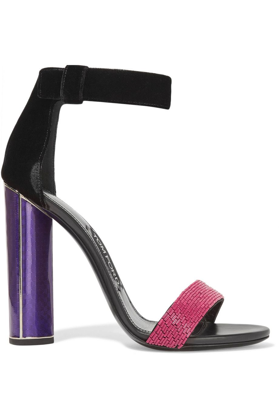 f1b13f36c39c Shop on-sale TOM FORD Embellished velvet and leather sandals. Browse other  discount designer Sandals   more on The Most Fashionable Fashion Outlet