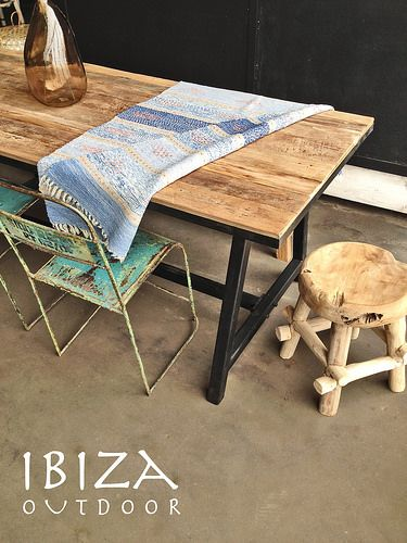 eetkamer tafel teak woonkamer ijzer | Pinterest | Teak, Tuin and ...