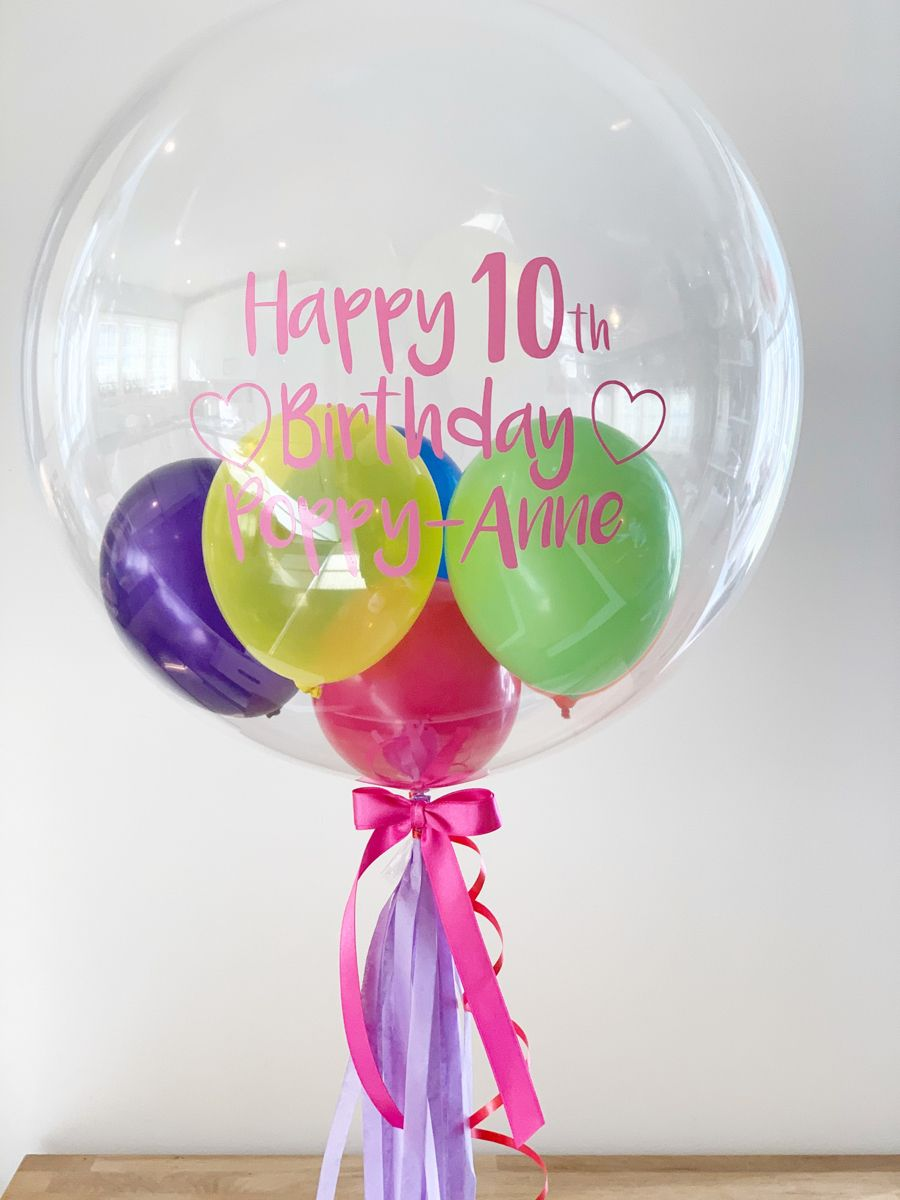Rainbow Balloon Delivered In A Box In 2021 Personalized Balloons Bubble Balloons Balloon Gift