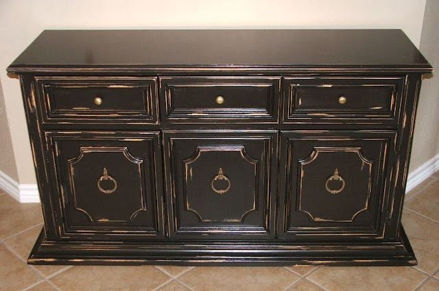 Black Distressed Cabinet (With images) | Black distressed ...
