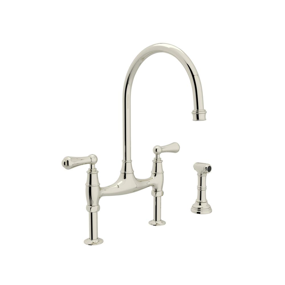 Rohl Perrin And Rowe 2 Handle Bridge Kitchen Faucet With Side