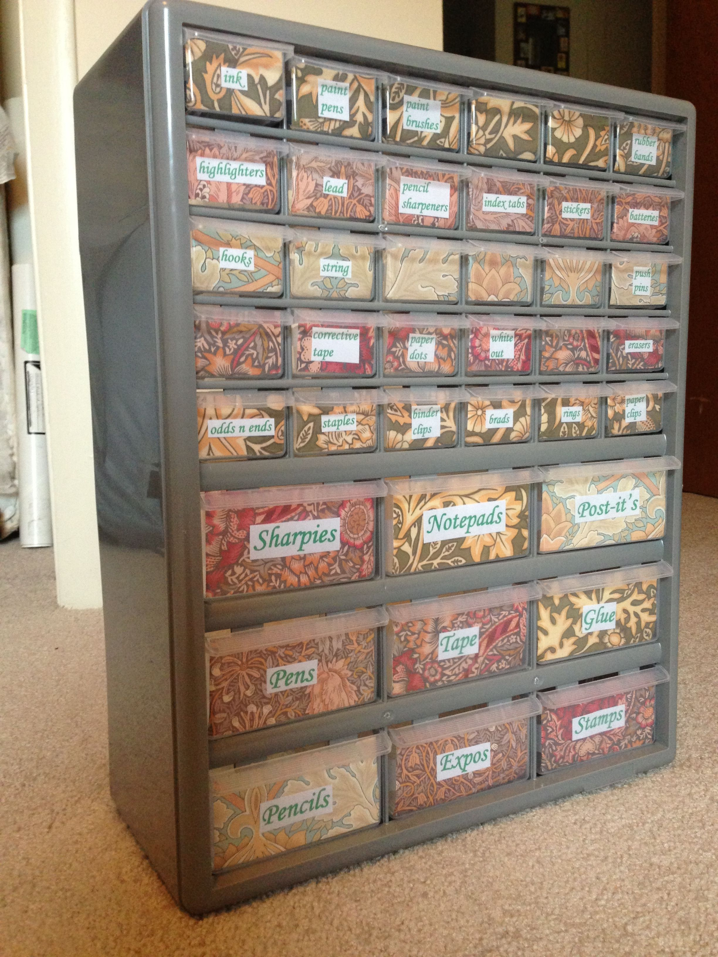 Office supply storage made out of a toolbox  Got the at Home Depot Teacher