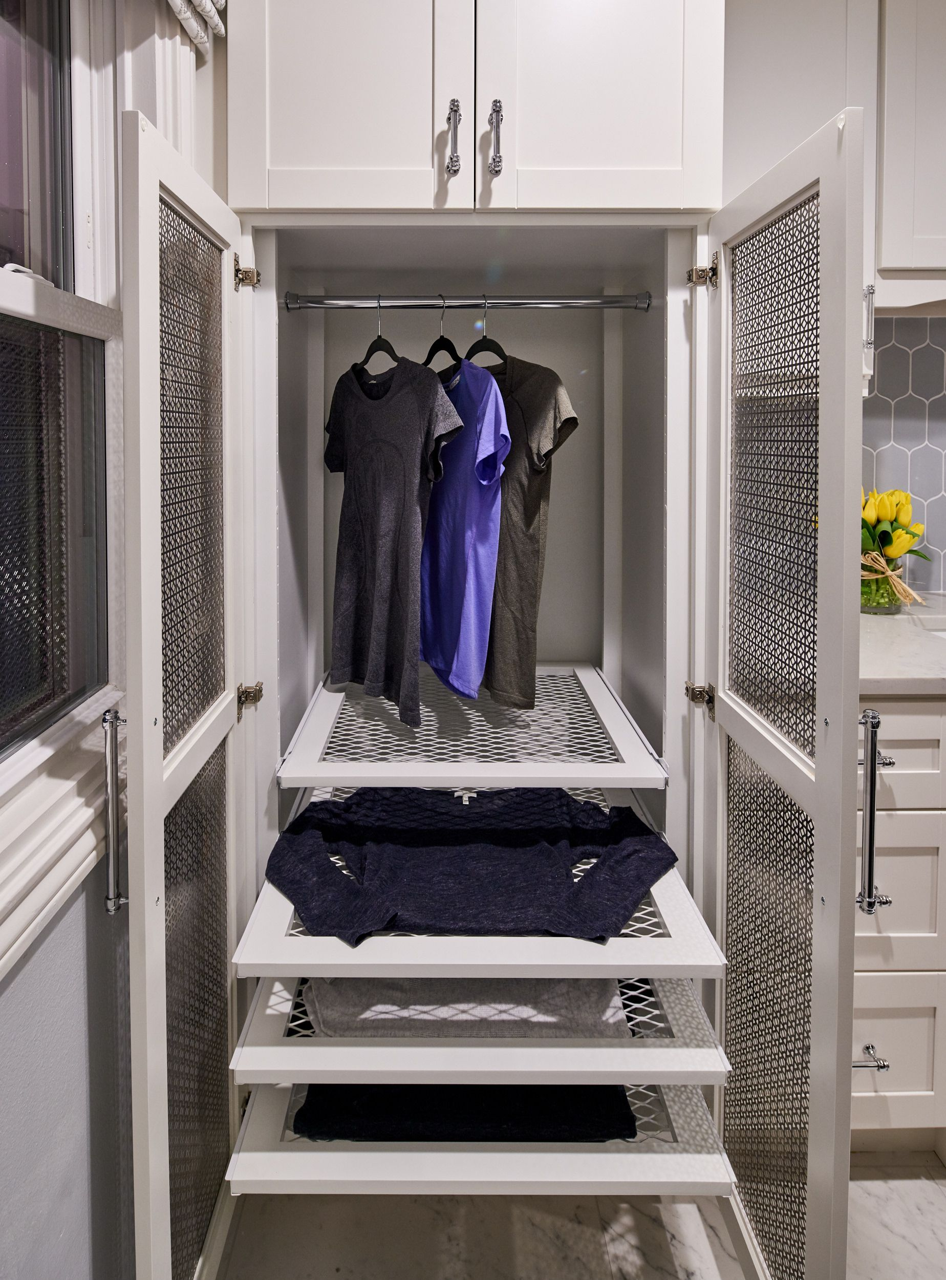 Custom Drying Cabinet For Laundry Room Featuring Pullout Drying