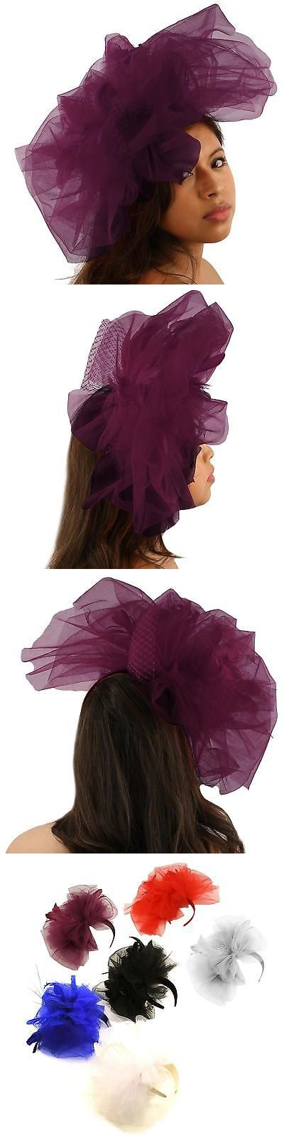 3597384b62bb6 Fascinators and Headpieces 168998  Big Tulle Mesh Feathers Fishnet Headband  Fascinator Bridal Cocktail Hat Purple -  BUY IT NOW ONLY   13.31 on  eBay  ...