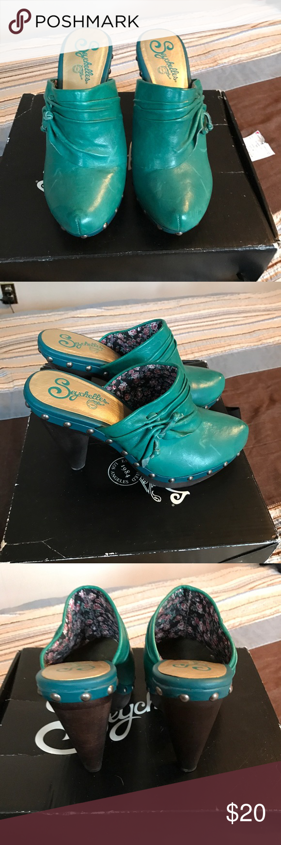 Teal Clogs Leather slip on clogs only worn once in good condition and comes with the original box Seychelles Shoes Mules & Clogs