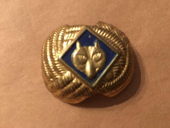 Vintage Wolf Cub Scout Boy Scouts Scarf Slide Clasp Holder Neckerchief BSA 1