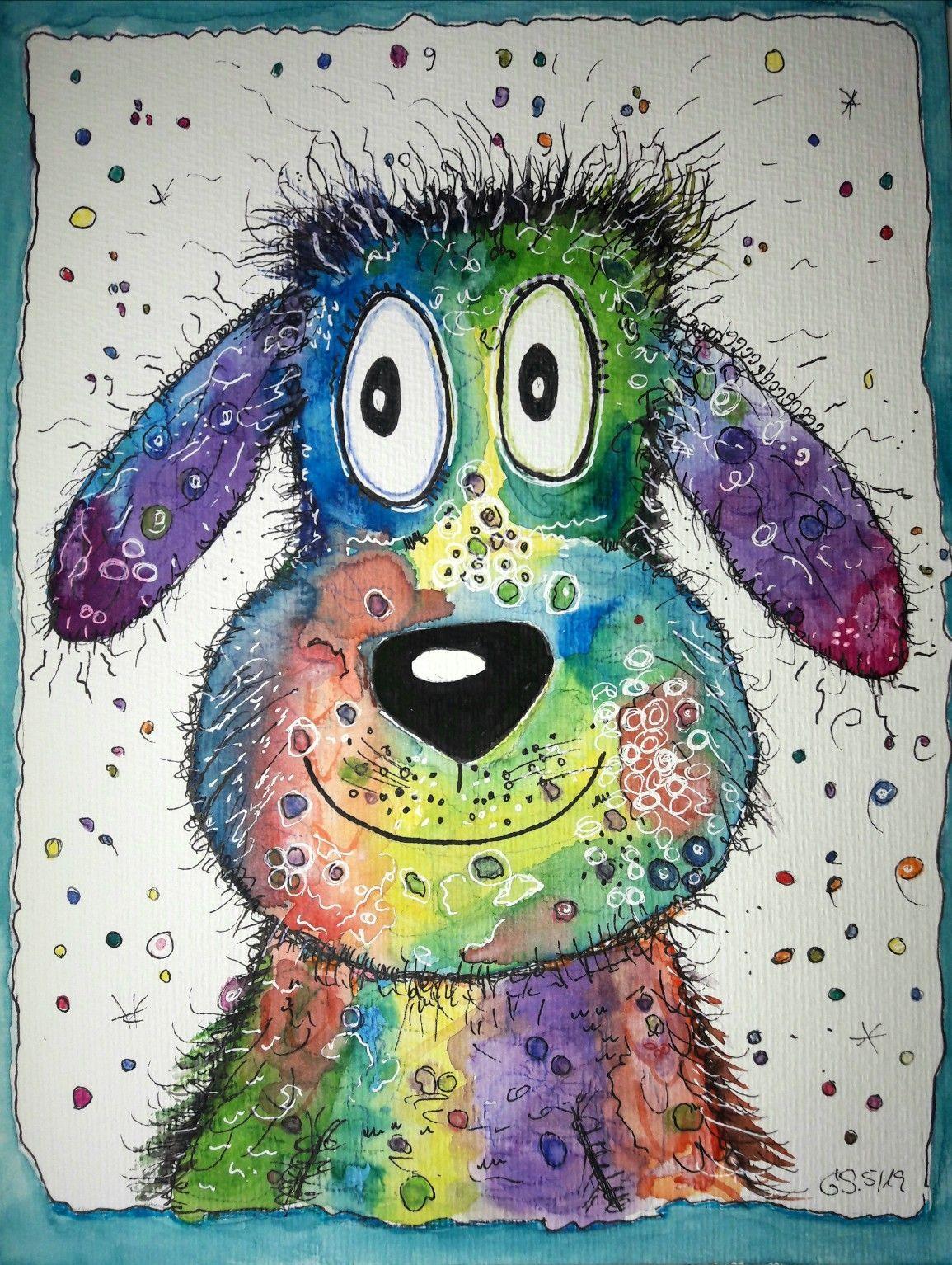 Aquarelle Sky Watercolor Stars Little Girl Drawing Painting Art