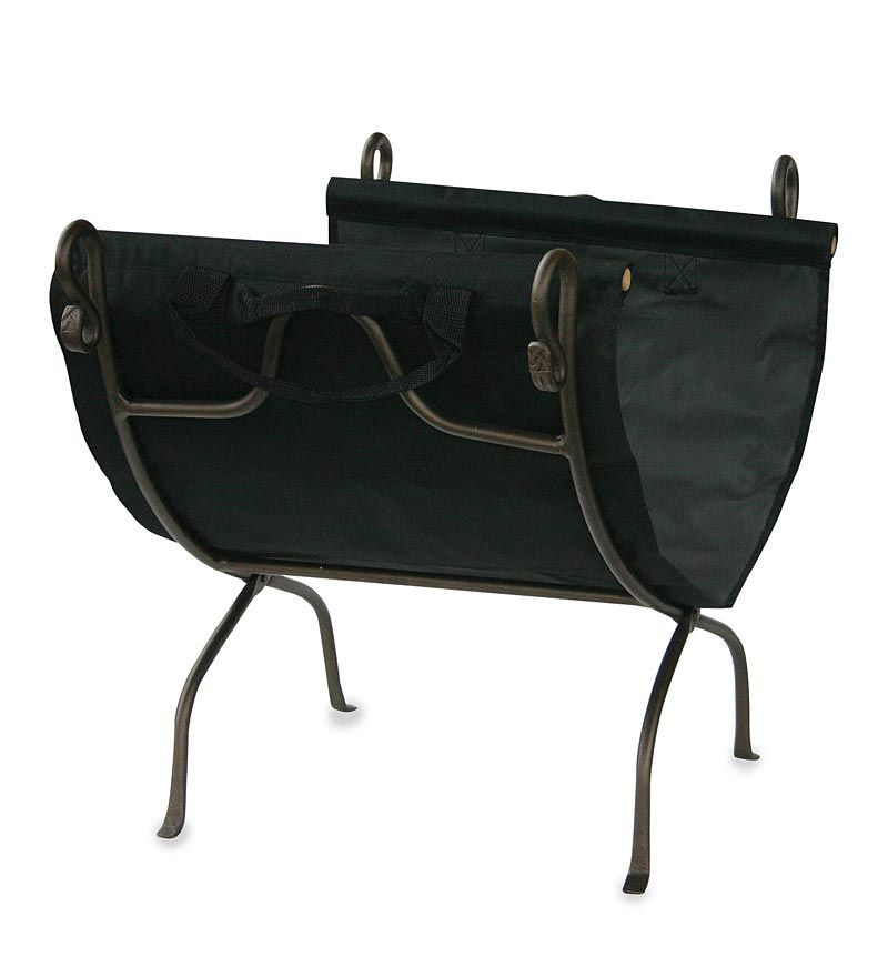 Bronze Wrought Iron Log Holder With Canvas Log Carrier