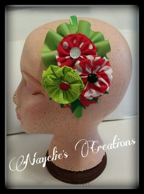 Green, red & white headband