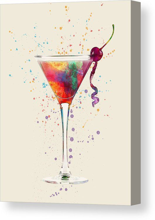 Cocktail Drinks Glass Watercolor Canvas Print Cocktails Canvas