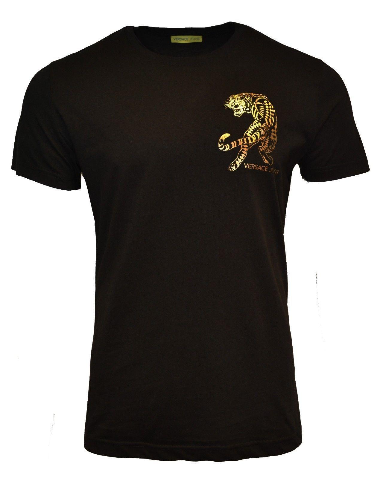 38eb499e 91.62 | BNWT VERSACE JEANS CHEST LOGO TIGER T-SHIRT BLACK & GOLD
