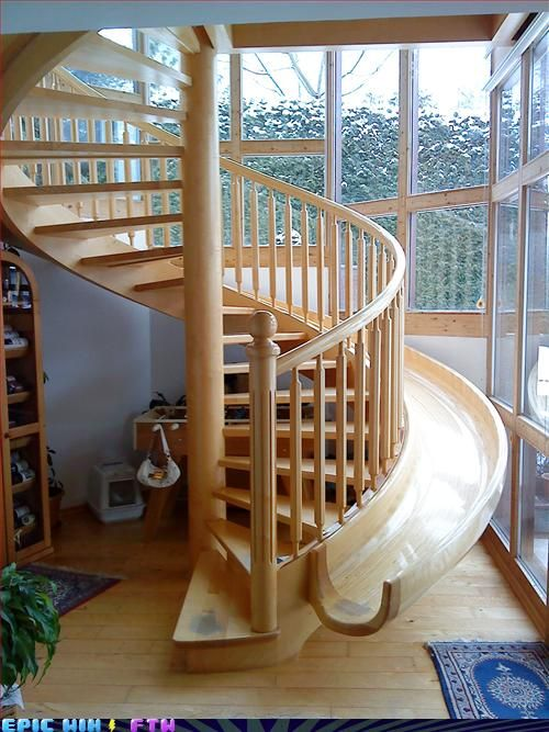 Spiral stair slide, because just a regular stair case can be so boring.