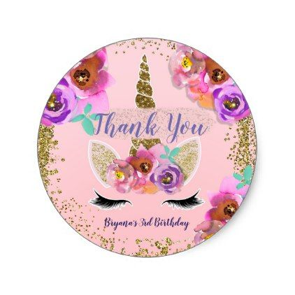 Girls floral gold glitter unicorn birthday party classic round sticker unicorn birthday parties round stickers and gold glitter