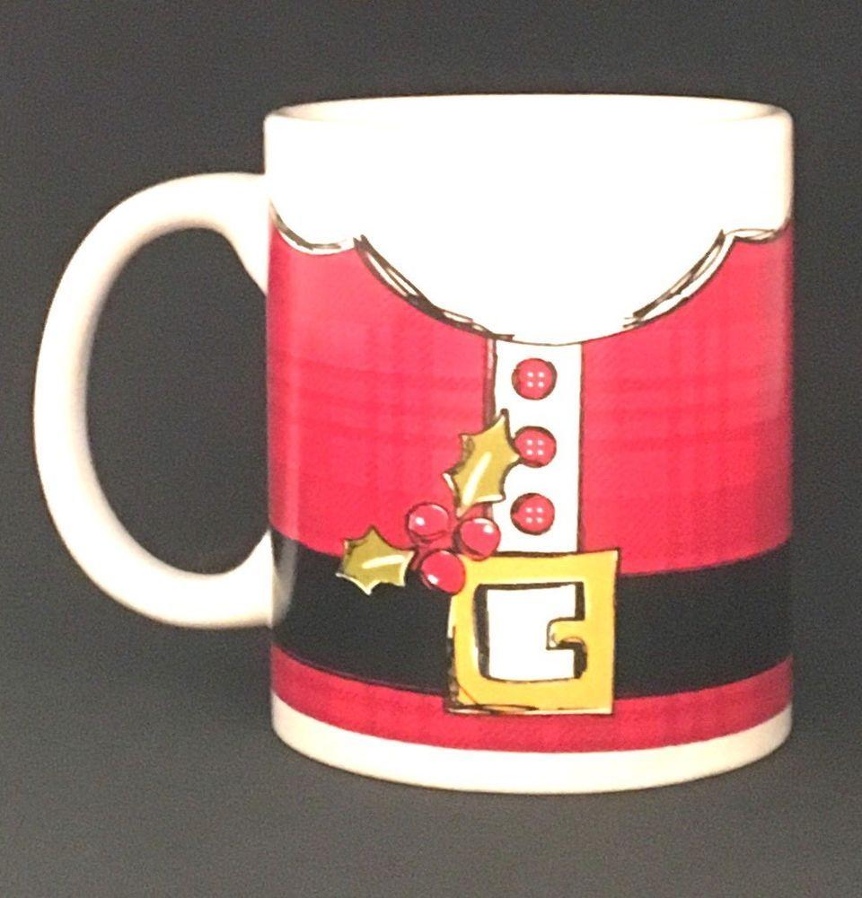 Santa  Coffee Mug Cup Christmas Holiday Festive Outfit Suit Belt  #HolidayMarket