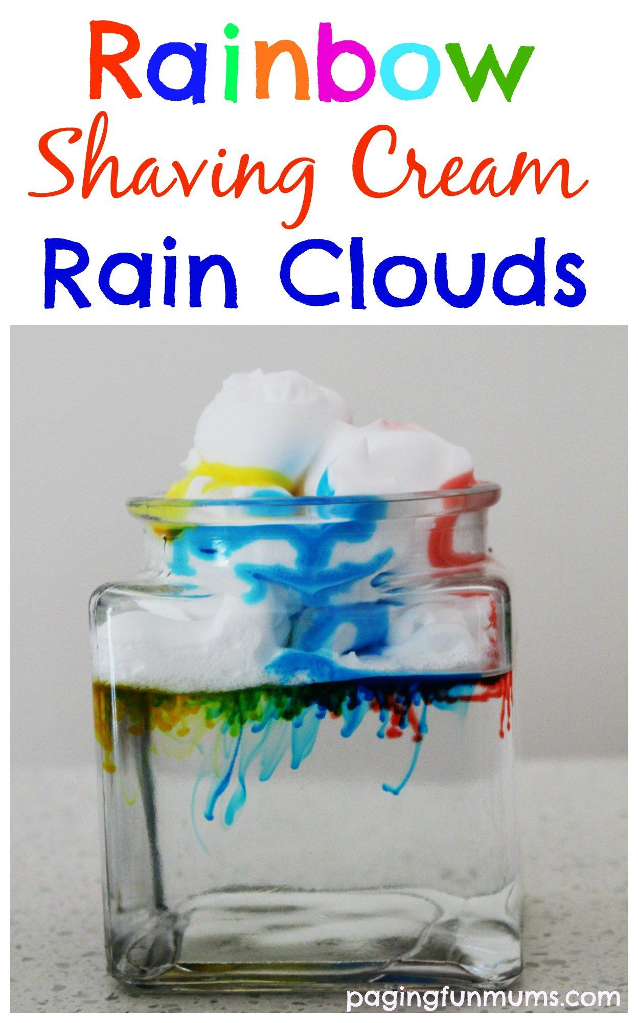 rainbow rain clouds science experiment for kids rain clouds