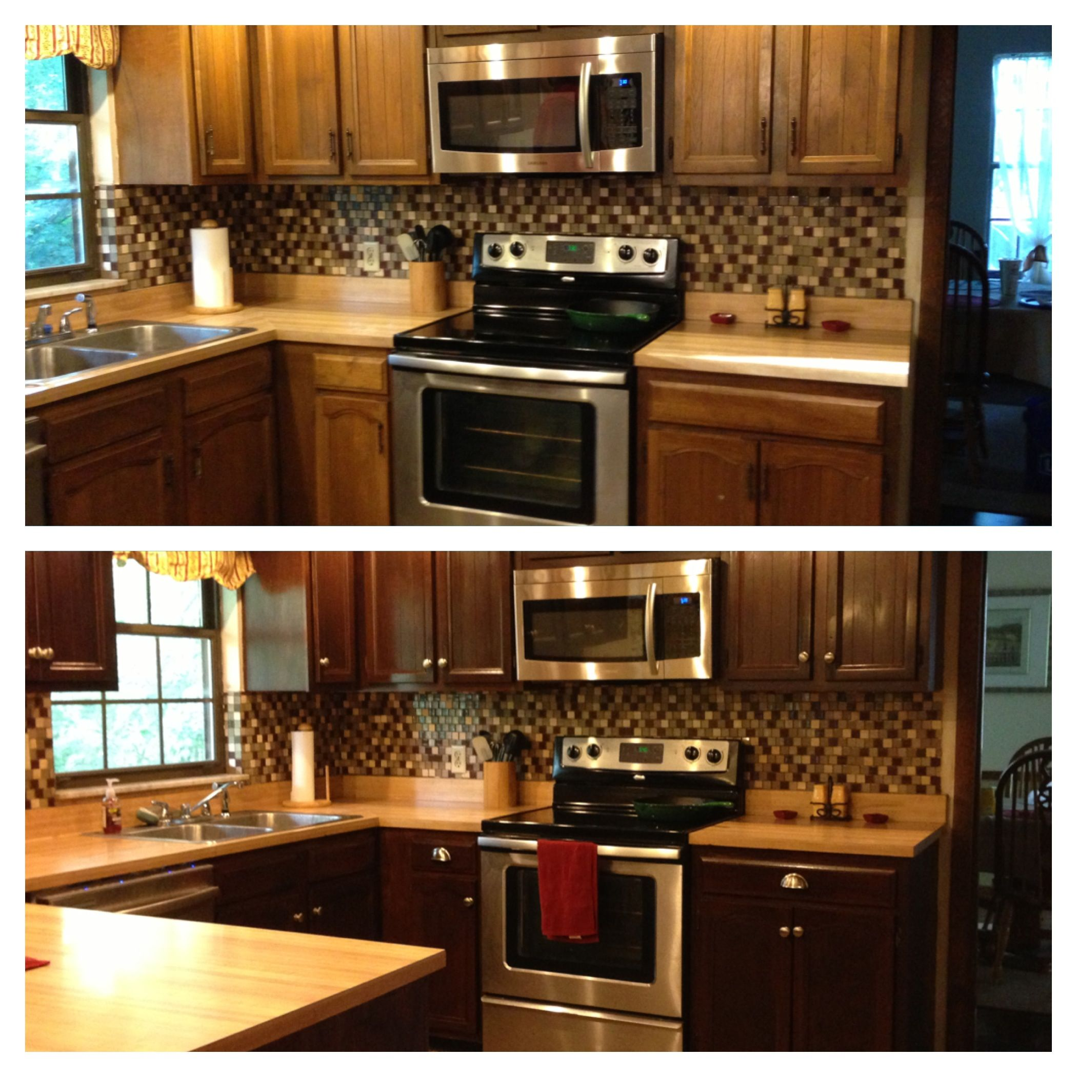Diy Gel Stain Kitchen Cabinets Black With The Faux: What A Difference A Can Of Gel Stain And New Hardware Make