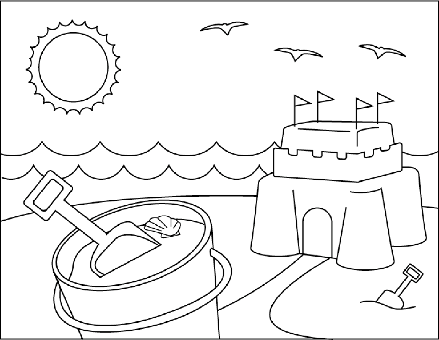 Sand Castle On Beach Summer coloring picture for kids ...