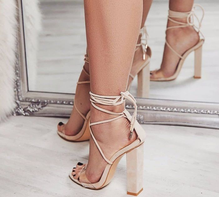 133bc40e2a4 Bello Perspex Lace Up Block Heel Sandals