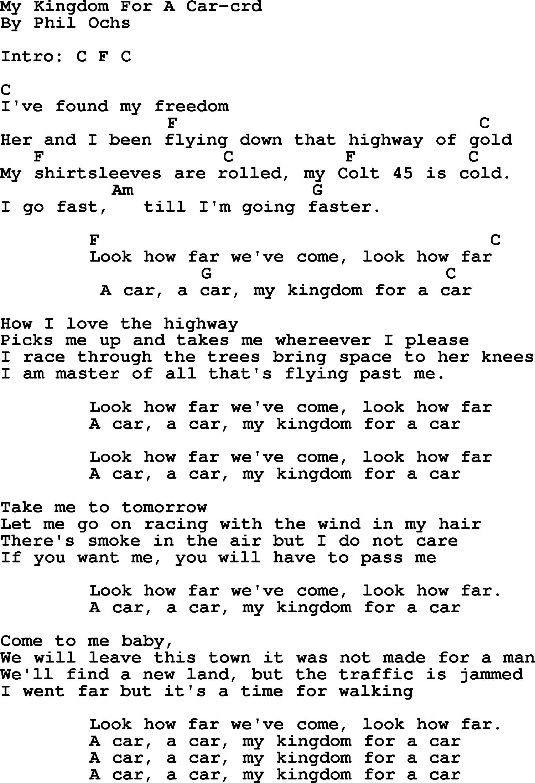 Phil Ochs Song My Kingdom For A Car Lyrics And Chords Lyrics And Chords Willie Nelson Lyrics Lyrics