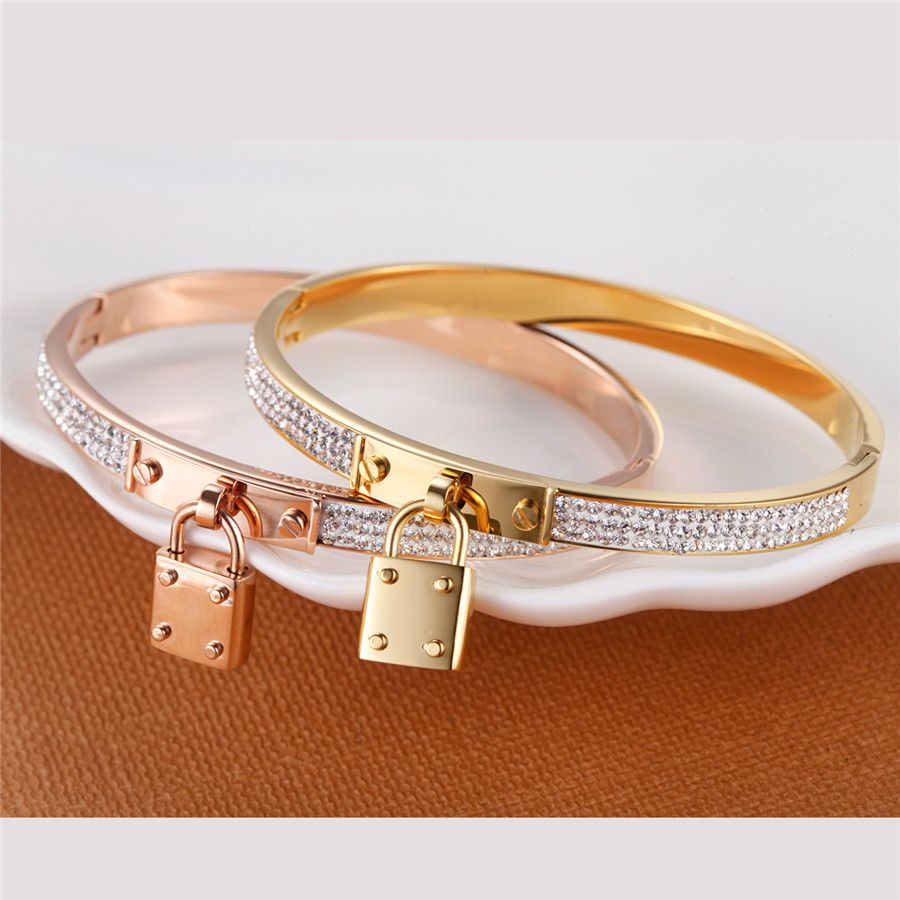 new stainless steel women bangles key charm bracelets padlock