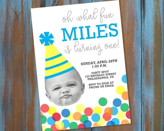 Baby Face Photo First Birthday Party Invitation with Rainbow Confetti & Party Hat Design - Boy 1st Birthday Invite - Personalized Printable