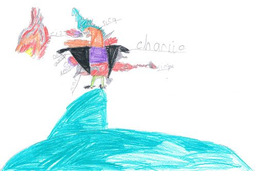 Charlie's fire breathing dinosaur drawing.