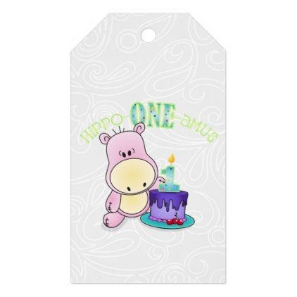 hippo one amus first birthday gift tags