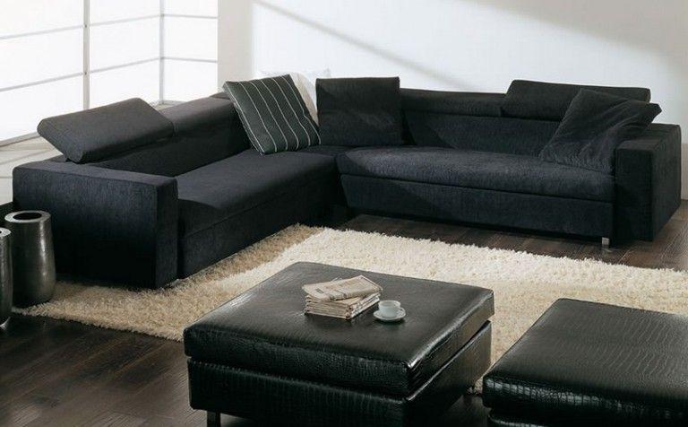 Black Leather Sofa  Contemporary Sofas Beautifying Living Room : Black Big  Sofas With White Fur