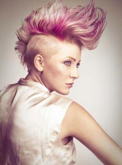Pink Hairstyles Extreme Mohawk Hairstyle With Vibrant Colors  Eleganthairstyles