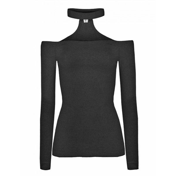 4e4788be5a6f1 Black Choker Off The Shoulder Top (245 PLN) ❤ liked on Polyvore featuring  tops