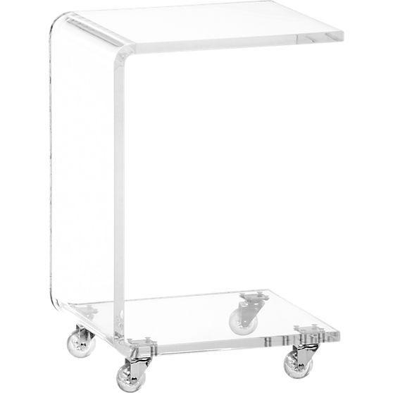 Peekaboo Acrylic C Table On Wheels