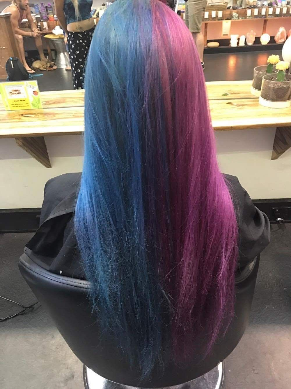 This Magical Color Changing Hair Goes From Blue To Pink In Seconds Girl Hair Colors Split Dyed Hair Aesthetic Hair