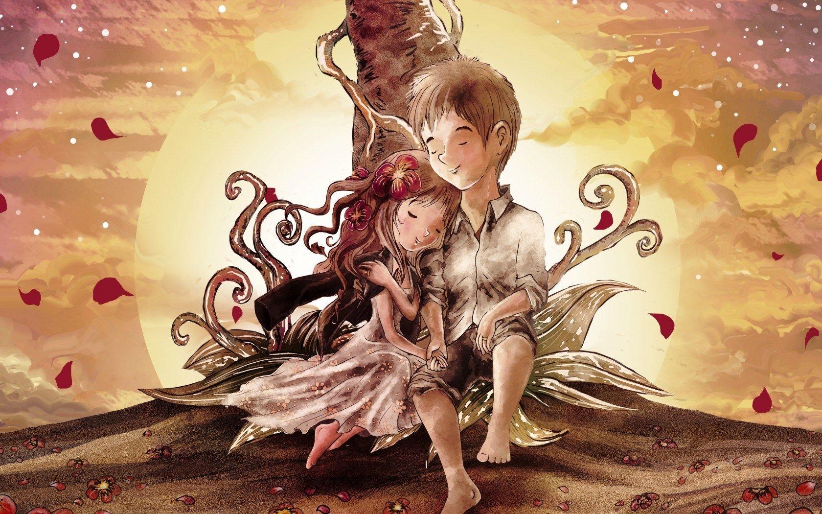 Boy Girl Couple Love Art HD Wallpaper ZoomWalls Fundo
