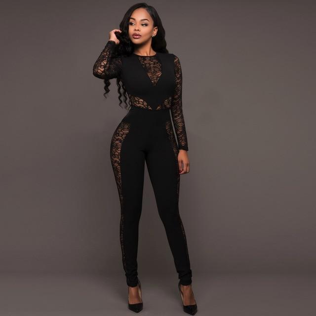 a4fcc089a5cf Long Sleeve Black Lace Jumpsuit Women Sexy See Through Mesh Bodycon  Longliilgal Black Lace Jumpsuit