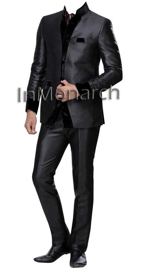 4787771316 Reception Nehru Suit Designer Mens Wedding Nehru Collar Black Suits NS128  #WeddingMarriageAnniversaryReception