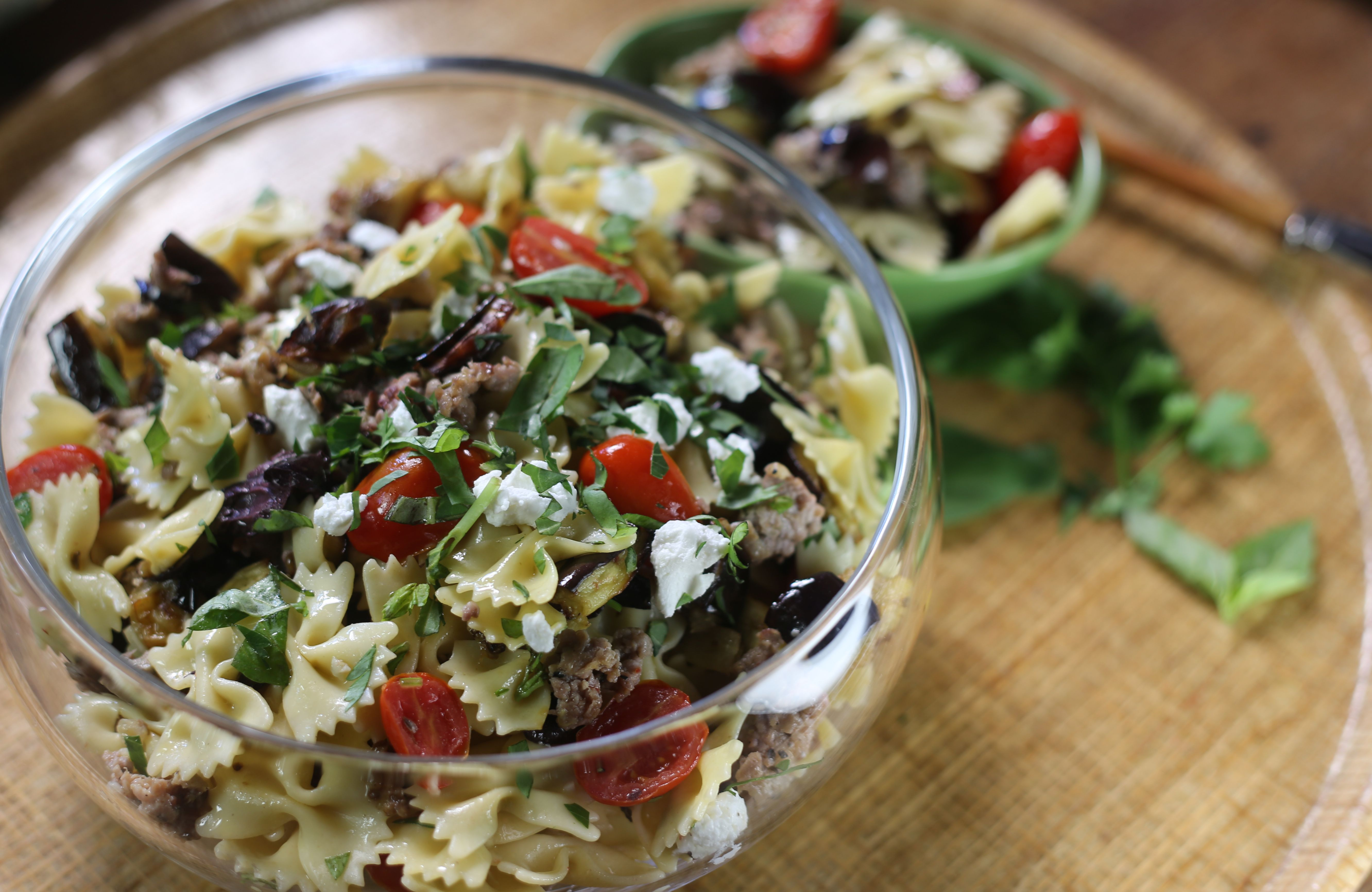 Farmhouse Rules Salad Recipes Eggplant And Sausage Pasta Salad Recipe Side Dishes