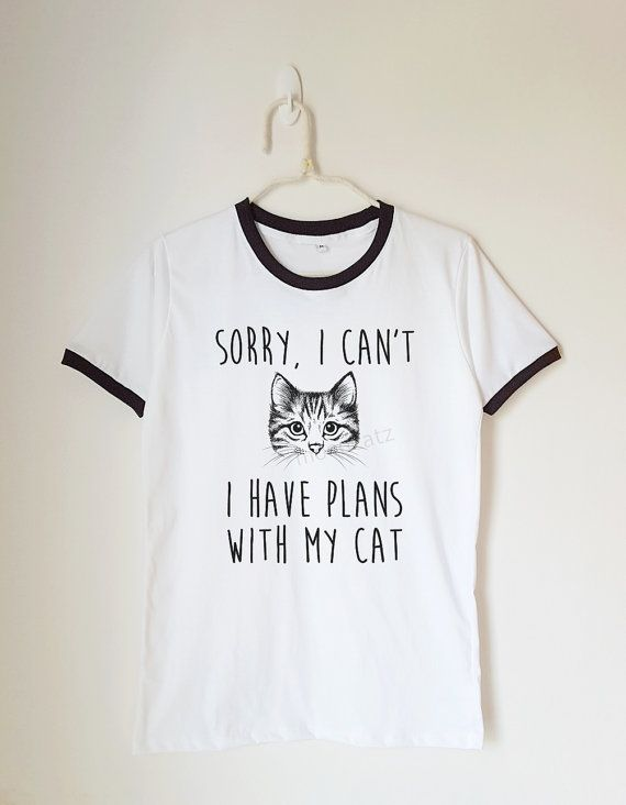 Sorry I can't I have plans with my cat tshirt animal by MoodCatz