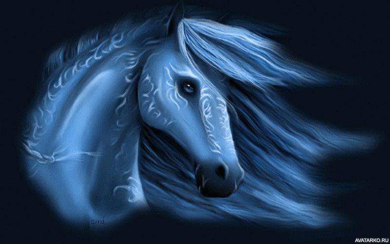 Krasivaya Loshad Sinego Cveta Kartinki I Avy Fantasy Horses Blue Horse Horse Art
