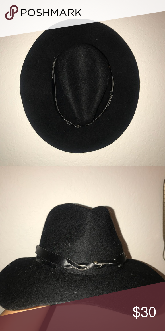 "b7ddd952af139 Black felt hat Black felt ""floppy hat"" from urban outfitters with western  style leather wrap. Urban Outfitters Accessories Hats"