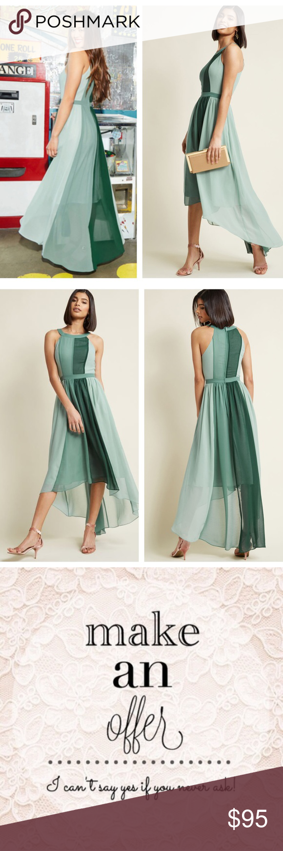 863c6aa8982763 MODCLOTH Peachy Queen Maxi Dress Pear Green {L1} Feel like royalty in this  airy